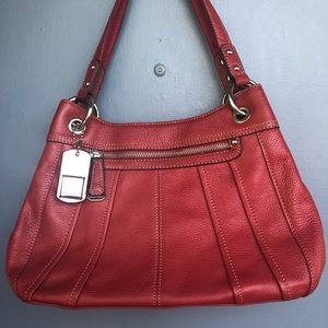 Tignanello large red leather handbag
